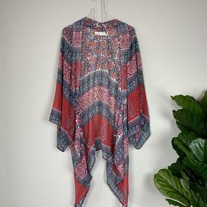 Abercrombie & Fitch Wn's Red/Blue Print Kimono OS